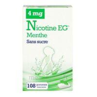 Nicotine EG 4 mg Gomme à mâcher médicamenteuse sans sucre menthe édulcorée à l'acésulfame potassique et saccharine Plq/108 à UGINE